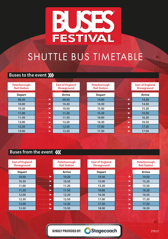 Shuttle Bus Timetable 2021