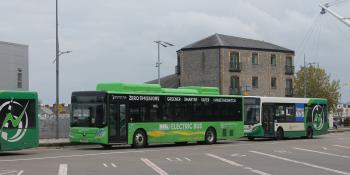 A Yutong E12 electric bus in Newport Transport livery