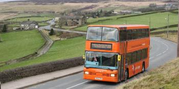 A Yorkshire Tiger DAF DB250 Optare Spectra 717 double-decker is seen approaching Mount Tabor en route from Wainstalls to Halifax