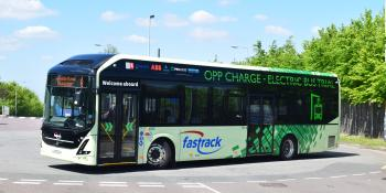 Volvo 7900E demonstrator in use on the Fastrack network at Greenhithe station in May 2018