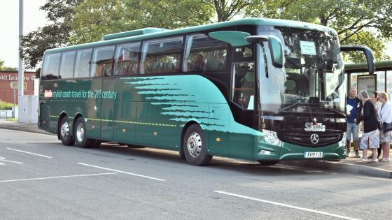 A Mercedes-Benz Tourismo in Skills of Nottingham livery