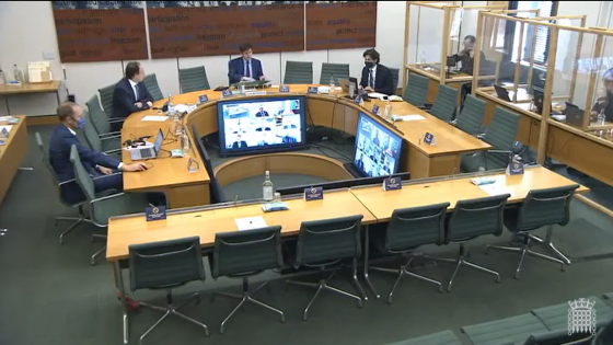 The Transport Select Committee meeting room during the COVID-19 pandemic