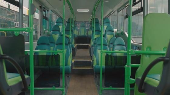 The interior of one of Newport Transport's Yutong E12s