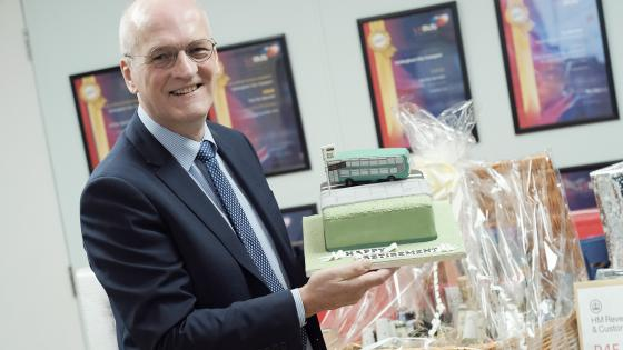 Mark Fowles, NCT Managing Director, with his retirement hamper