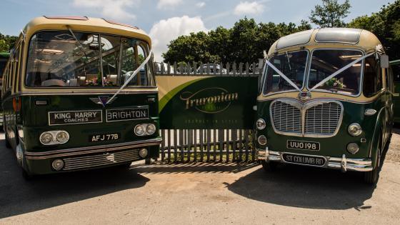 King Harry Coaches AEC Reliance Harrington and Bedford SBG Duple Vega